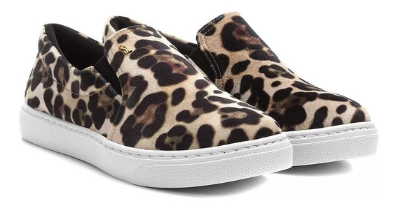 Slipon Feminino Santa Lolla Veludo Animal Print Onça