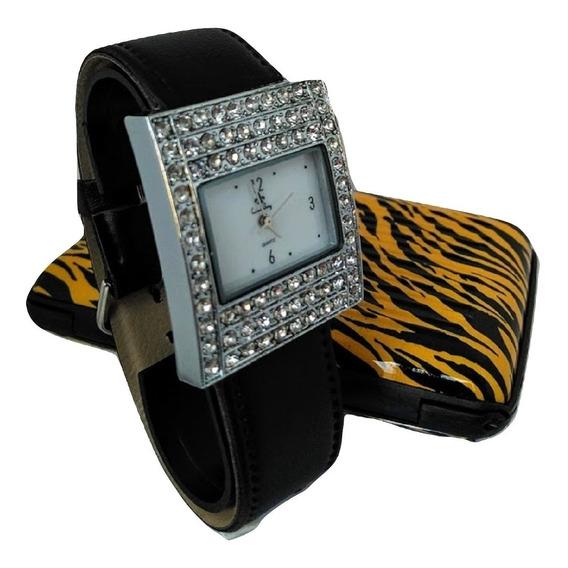Relógio De Pulso Feminino Prateado548 Quartzo Pulseira Couro