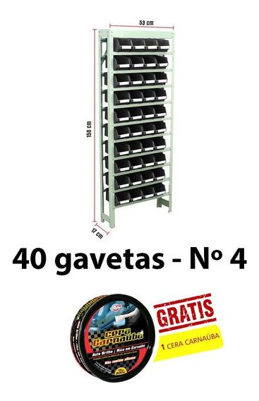 Kit Estante Gaveteiro Aço 40 Gavetas N° 4