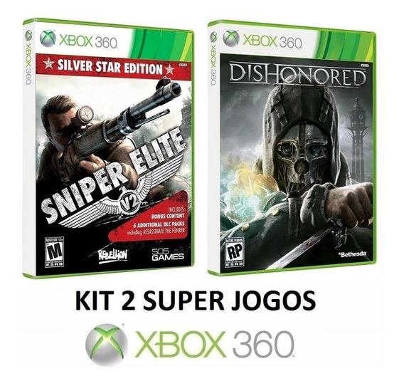 Sniper Elite V2 Star + Dishonored - Midia Fisica - Xbox 360