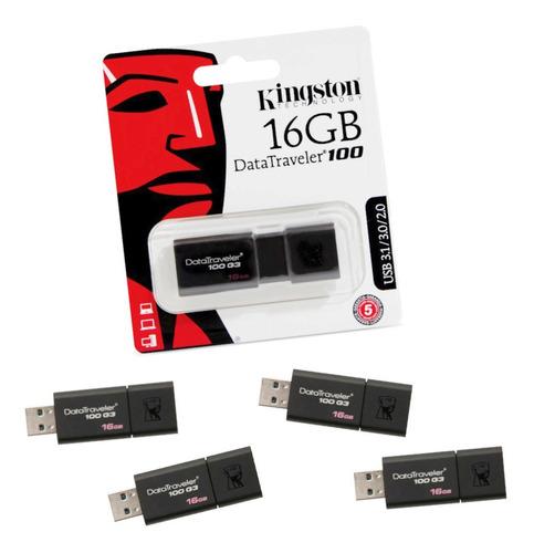 Kit Com 5 Pendrives Kingston 16gb Datatraveler