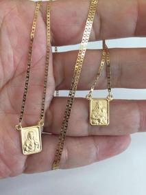 Escapulário Unissex Corrente Piastrine 60 Cm Ouro 18k 750