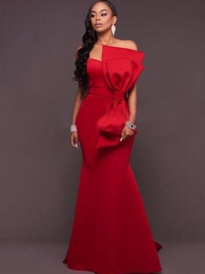 Vestido Rojo Strapple De Fiesta Noche Boda Moderno Largo