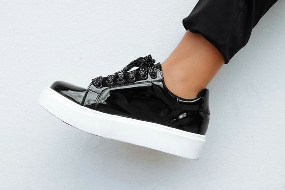 Zapatillas Charol Negro Negras Plataforma Cordones Glitter