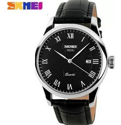Relógio Masculino Skmei 9058 Prata Couro Frete Grátis 12x