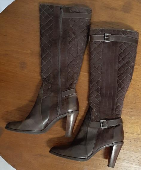 Bota Feminina Cano Alto Shoestock, Matelasse, Marrom, 38