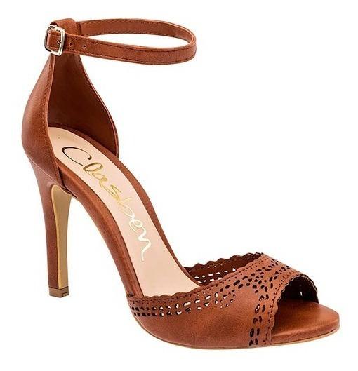 Zapatillas Para Dama De Tacón 10cm Clasben 0168-29 Cm Camel Poi19