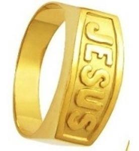Anel Em Ouro 18 Kilates Jesus -12 Gramas Forrado Por Dentro