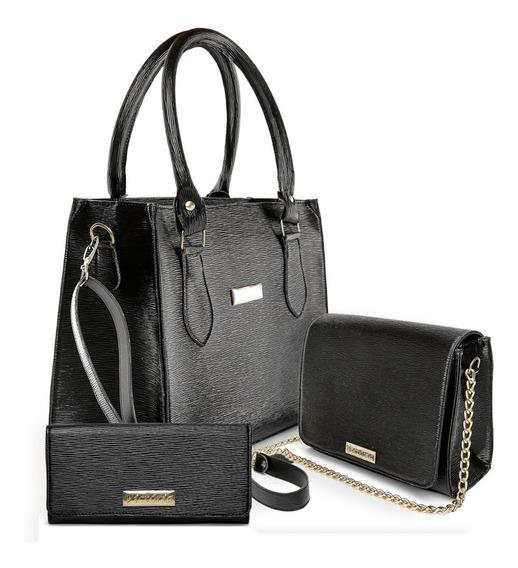 Bolsa Feminina Kit Com 2 Bolsas Grande Pequena Baú+ Carteira