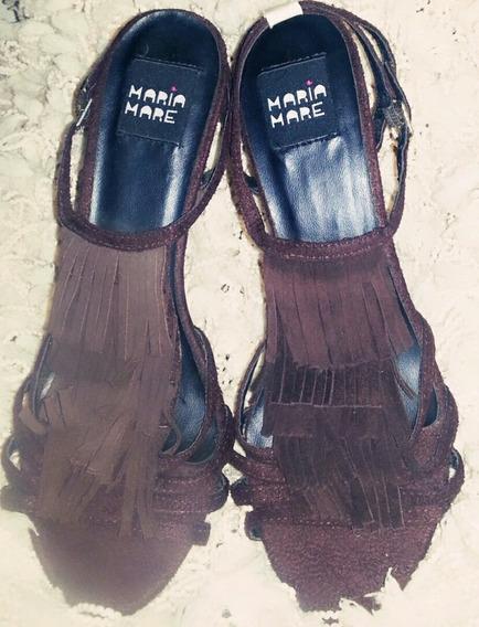 Zapatos Mujer Sandalia Gamuza Importados Flecos Taco Cono