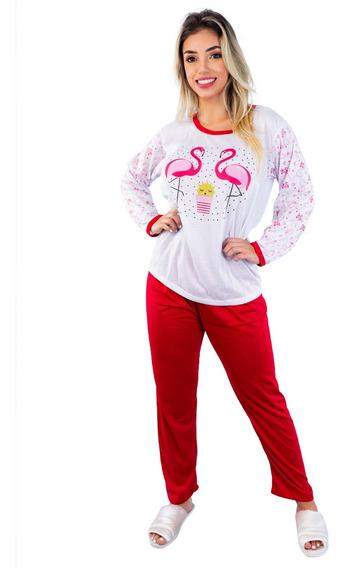 Pijama Comprido Malha Barato Roupas Femininas Fechado Frio