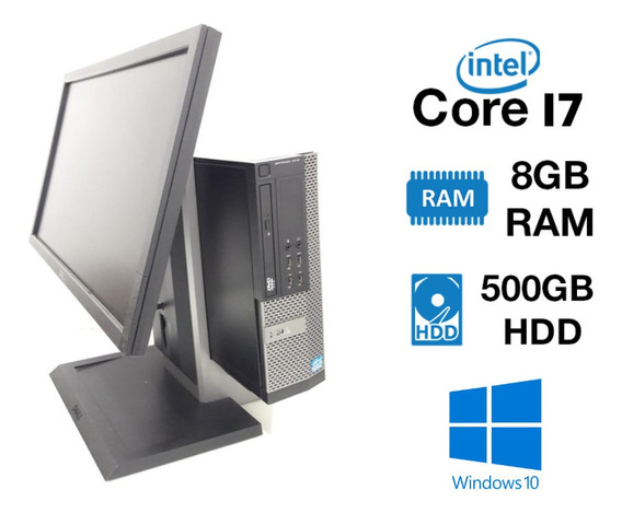 Kit Pc Dell 7010 Sff Core I7 8gb 500gb Monitor 22