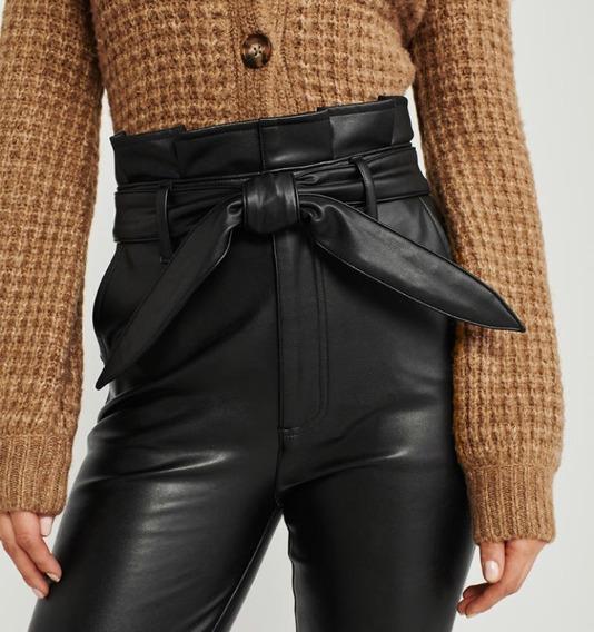 Pantalon Abercrombie & Fitch Eco Cuero Talle L Original