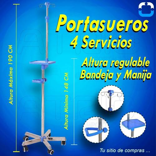 Imagen 1 de 1 de Porta Suero Hospitalario 4 Servicios Base Hierro 5 Llantas