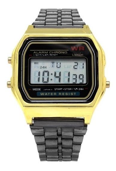Lote 5 Reloj Caballero Mujer Vintage Retro Estilo Casio Digital Metalico Ajustable Reloj Unisex - Negro Con Dorado