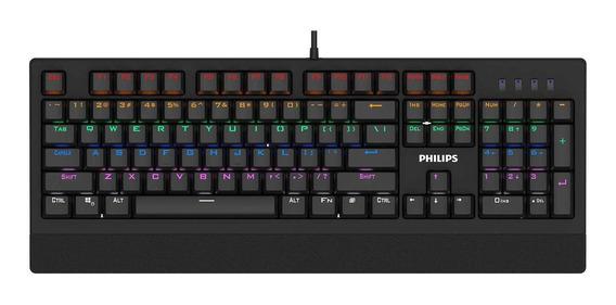 Teclado do pc QWERTY Philips SPK8403 Cian inglês US preto com luz de 7 cores