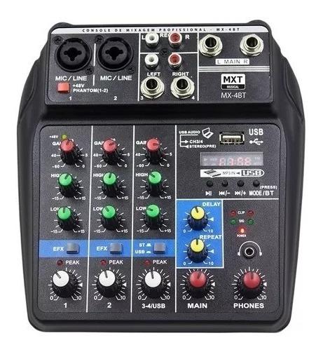 Mesa De Som Barato 4 Canais Bluetooth Usb E Phantom Power