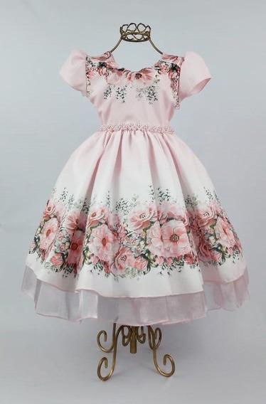 Vestido Rosa Floral Com Pérolas Formatura Festa C1385