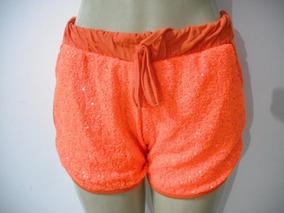Shorts Laranja Paetes M Maria Moça Usado Bom Estado