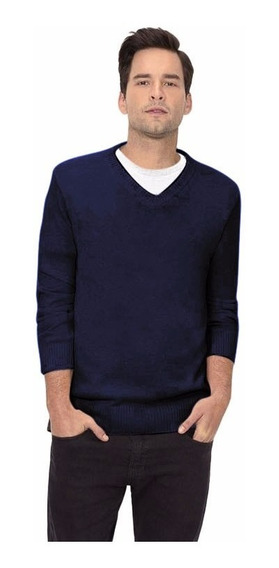 Sueter Azul Marinho Masculino Gola V Malha Blusa Fit