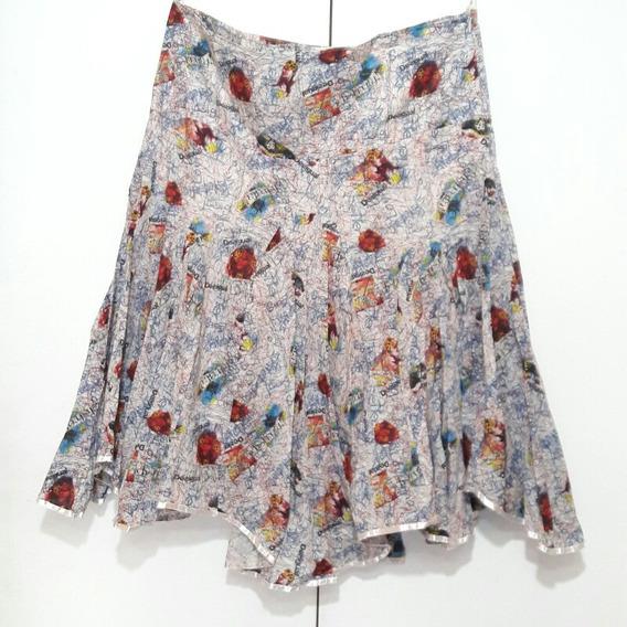 Falda Mujer Desigual Asimétrica Puntas T. 38/40 100% Algodon