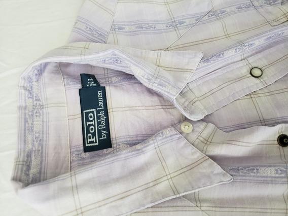 Camisa Polo By Ralph Lauren L Vintage Blanca Con Azul Morado