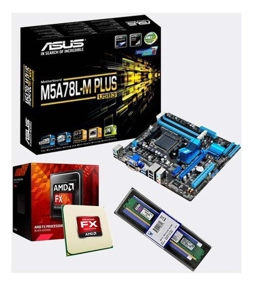 Kit Mb M5a78l-m Plus Usb3 + Fx 8300 + 8gb + Fonte De 500w