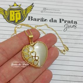 Cordão Feminino 45cm + Pingente Coração Banhados A Ouro 18k