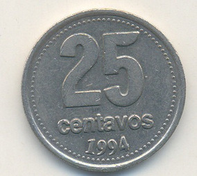 Error De Acuñación Moneda Argentina De 25 Centavos Año 1994