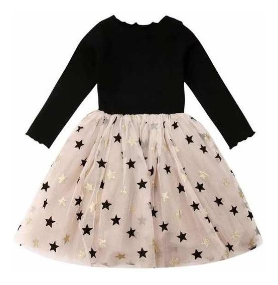 Vestido Tull Princesas Manga Larga Con Estrellas