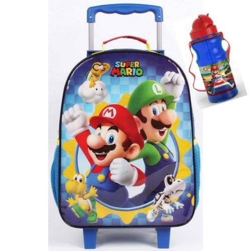 Mala Escolar Com Rodinhas Super Mario #11518 + Cantil Dmw