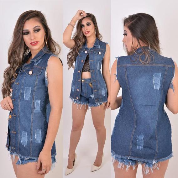Maxi Colete Jeans Feminino Longo Colete Moda