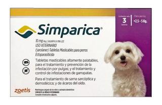 Simparica Antiparasitario 3 Comp 2,5 - 5 Kg +duración Tps