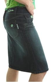 Saia Feminina Barata Jeans Azul Longuete Moda Evangélica