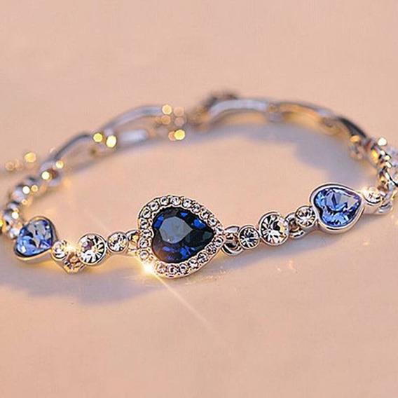 Pulseira Feminina Oceano Blue Cristal Do Encanto Do Coração