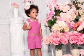 Jardineira De Bebê Menina- Paraíso Moda Bebê