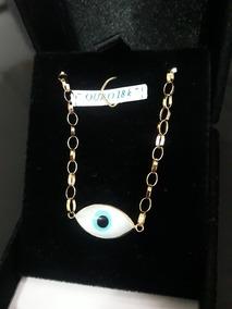 Pulseira Olho Grego Elo Português 15cm Ouro 18k