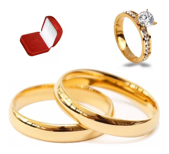 Par Alianças Moeda Antiga 4mm Noivado Casamento + Anel Lindo