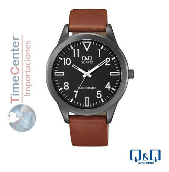 Reloj Q&q,hombre,pulsera De Cuero,resistente Al Agua, Qa52j.
