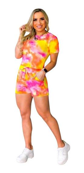 Plus Size Conjunto Tie Dye Blusa Manga Princesa Shorts Moda