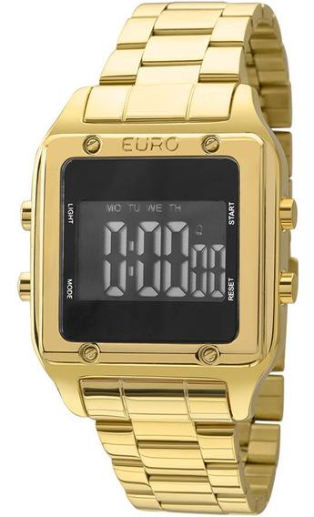 Relógio Euro Feminino Dourado Eug2510aa/4p Quadrado Digital