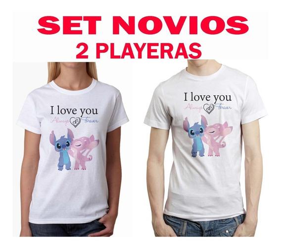 Set Novios Stitch Angel 2 Disney Playera Pareja Hombre Mujer