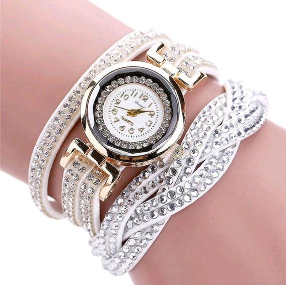 Pulseira Relógio De Couro Branco - Envio Imediato