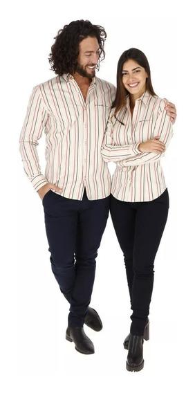 Camisas Para Hombre O Mujer Porto Blanco Beige Rayas De-1209