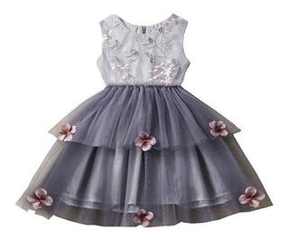 Hermoso Vestido Elegante De Niña Fiesta #4 Bordado Floral