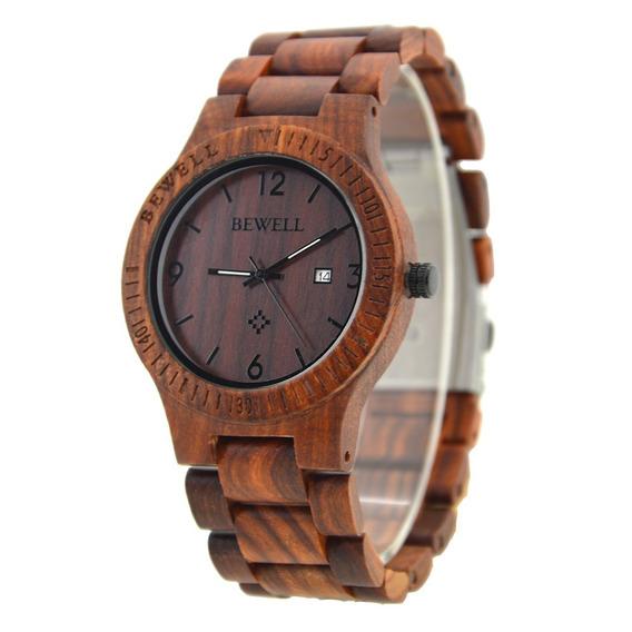 Relógio Madeira Bewell Original Marrom Zebrado Unissex