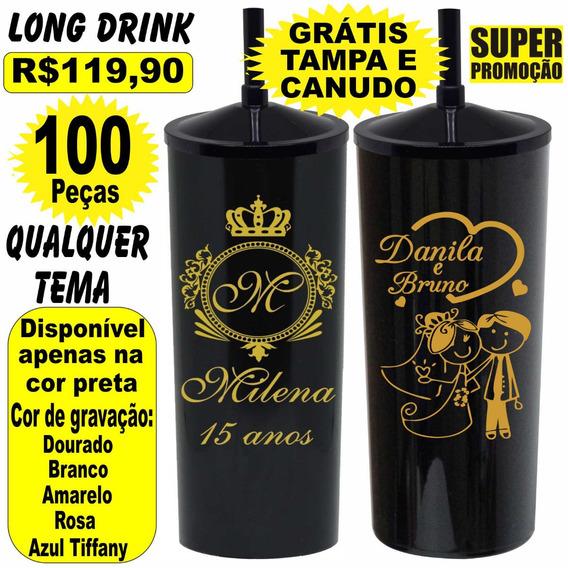 Promoção Copo Acrílico Preto Long Drink Grátis Tampa Canudo