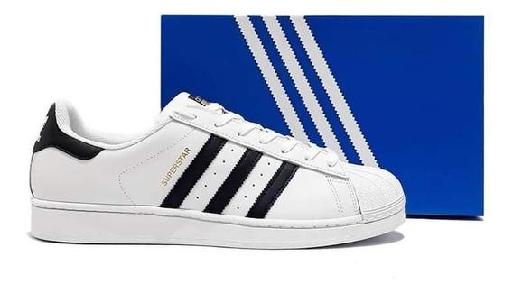 Tênis adidas Superstar Original Preto Branco Masculino Couro