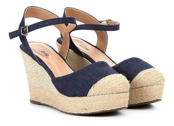 Anabela Griffe Espadrille Jeans