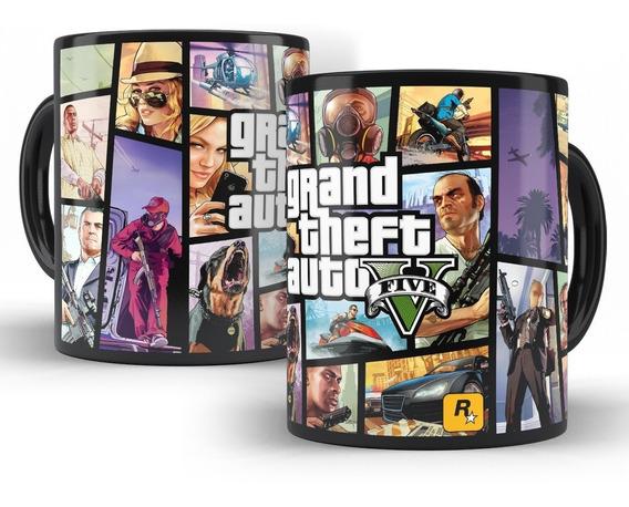 Caneca Gta V - Grand Theft Auto 5 Em Cerâmica Preta